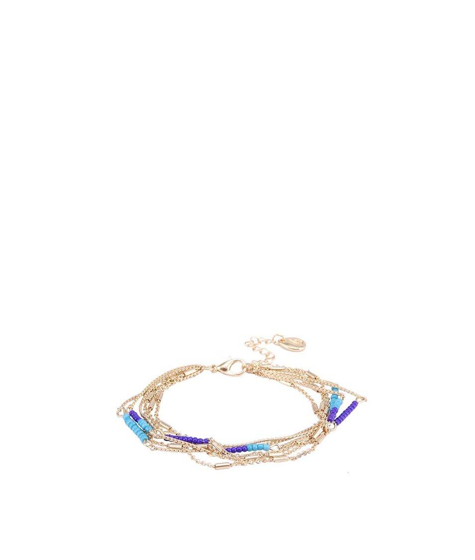 Řetízkový náramek s modrými a tyrkysovými korálky Designsix Stable
