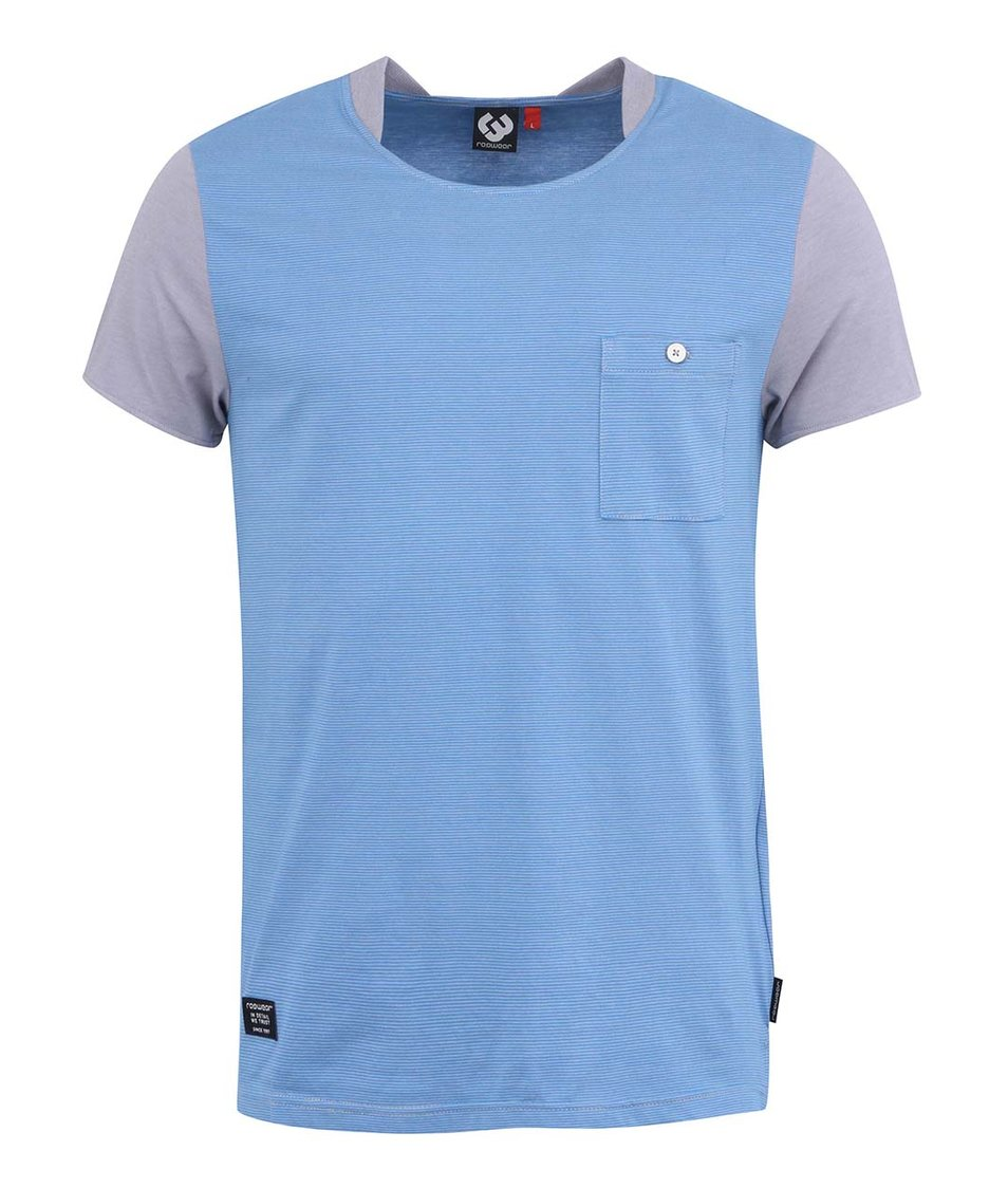 Šedo-modré pánské pruhované triko s kapsou Ragwear Irony