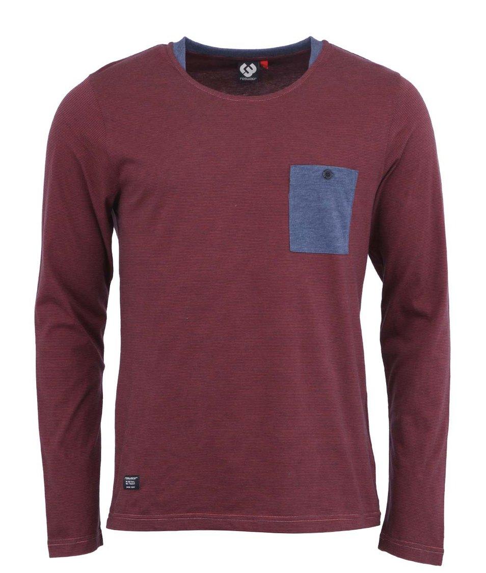Modro-červené pánské pruhované triko s dlouhým rukávem Ragwear Irony