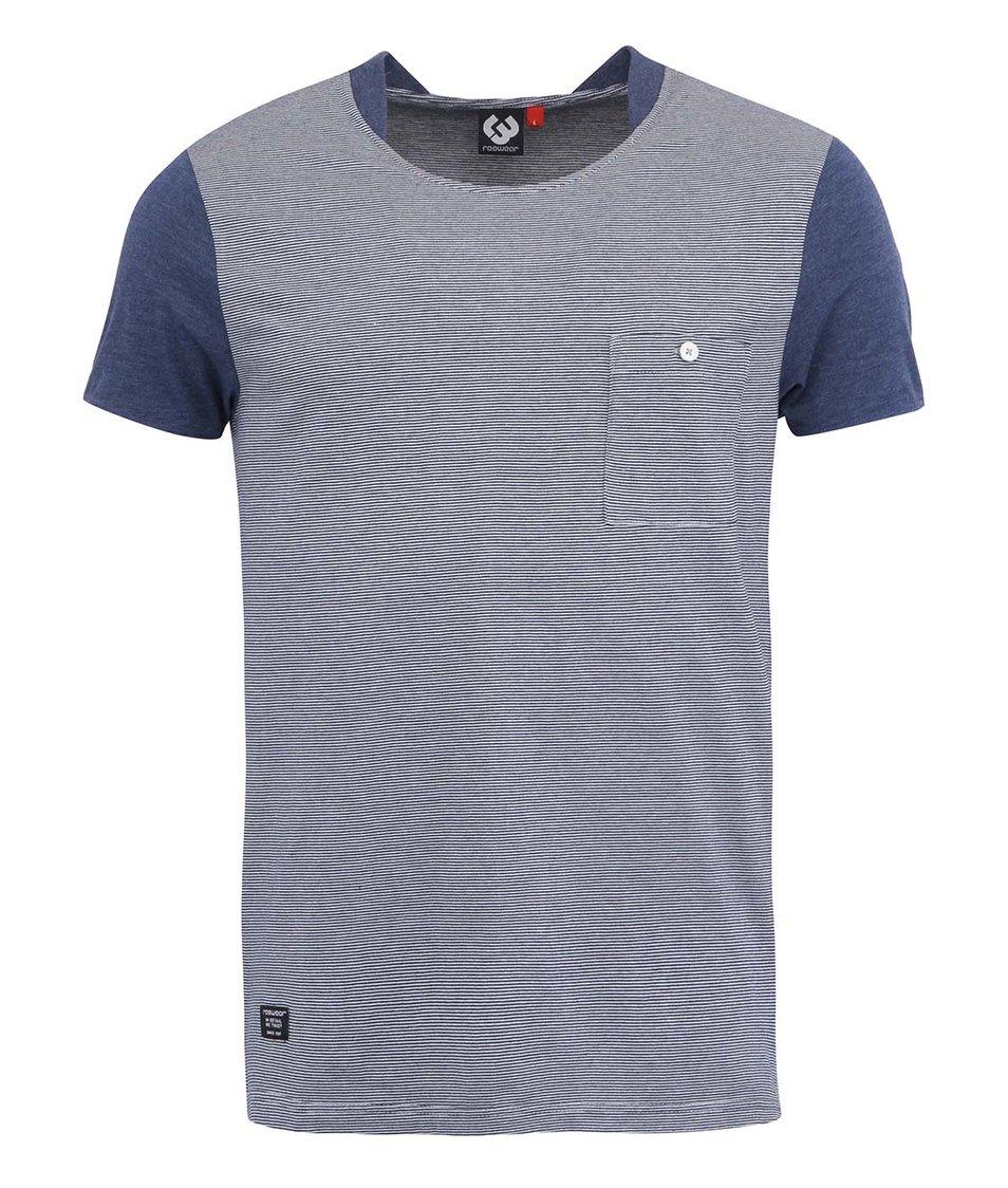Bílo-modré pánské pruhované triko s kapsou Ragwear Irony