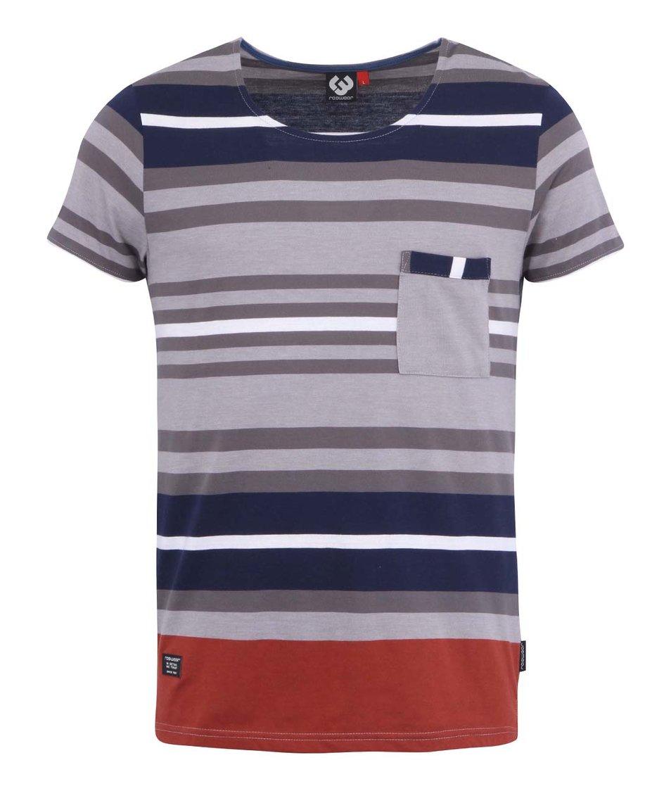 Modro-šedé pruhované pánské triko Ragwear Alley