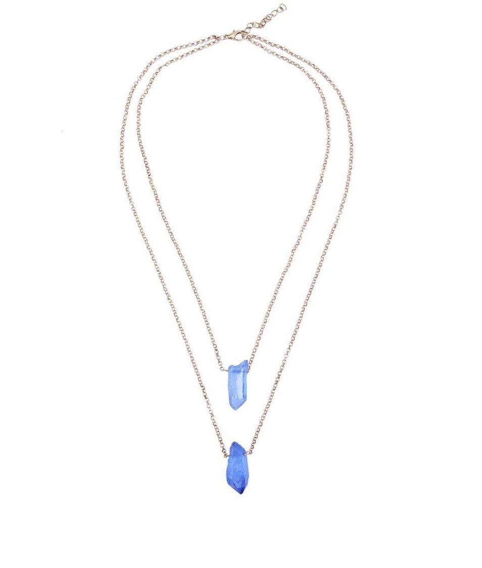 Náhrdelník s modrými čirými krystaly Designsix Drake