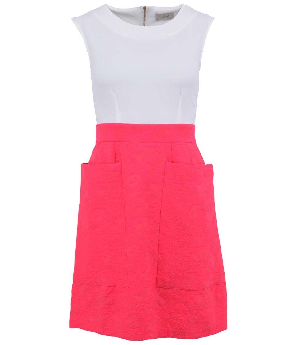 Bílo-růžové šaty s kapsami Almari