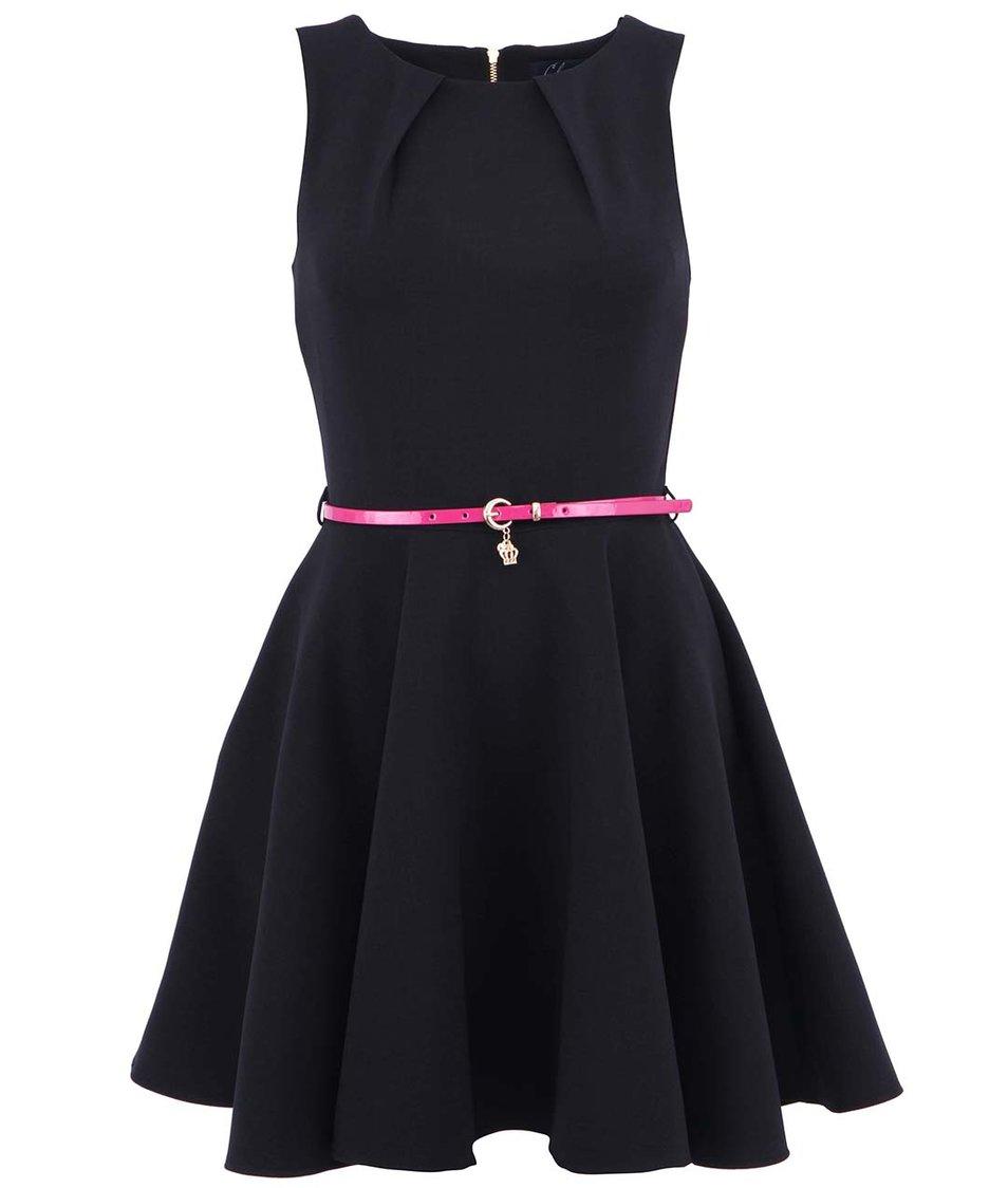 Černé šaty s růžovým páskem Closet