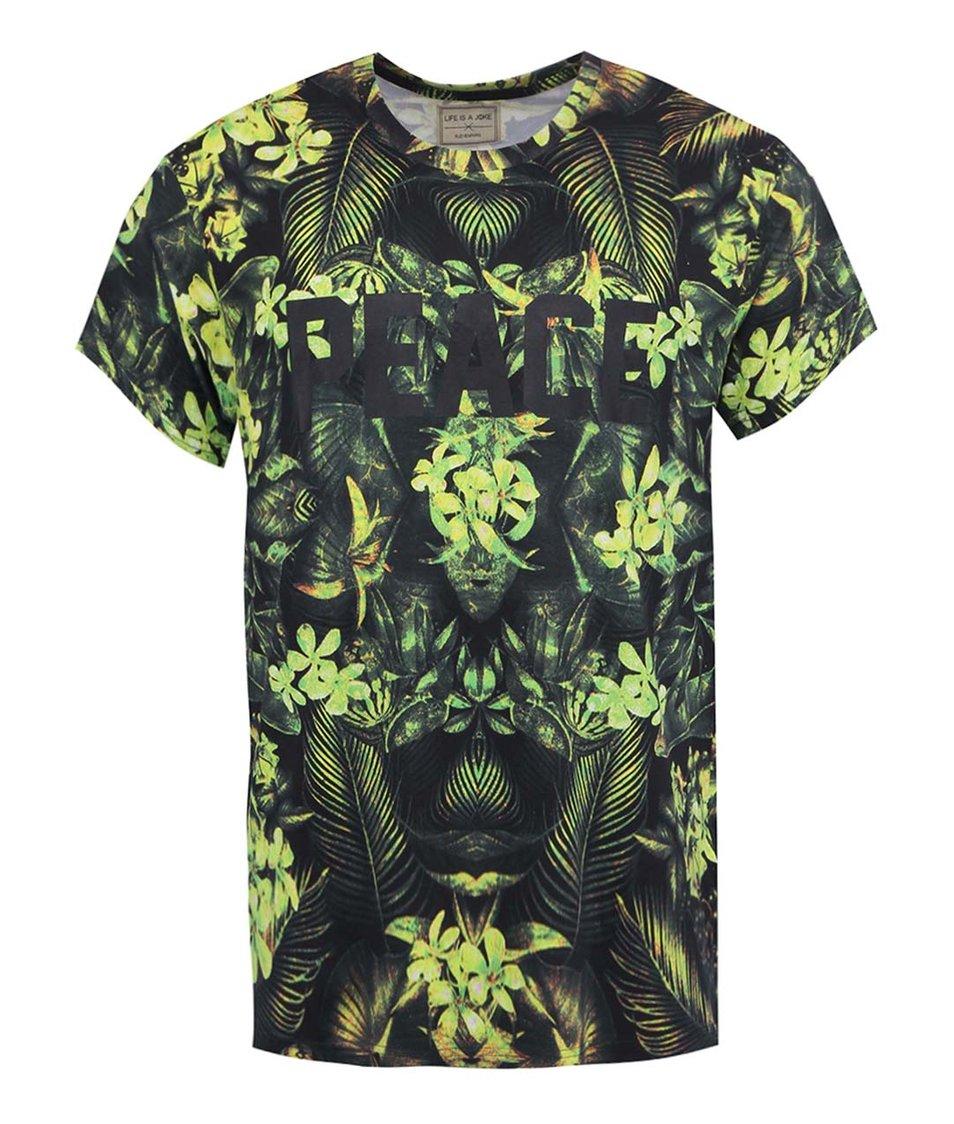 Černo-zelené pánské triko s potiskem Eleven Paris Sloju