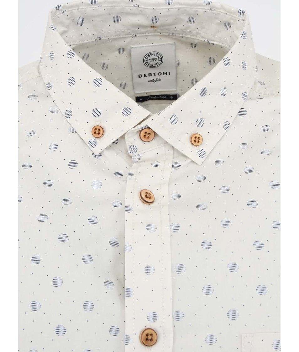 Krémová puntíkovaná košile Bertoni Slim Fit - SLEVA!  2617ab58d8