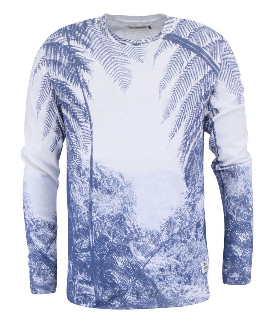Modro-krémový lehký svetr s celopotiskem Jack & Jones Mation