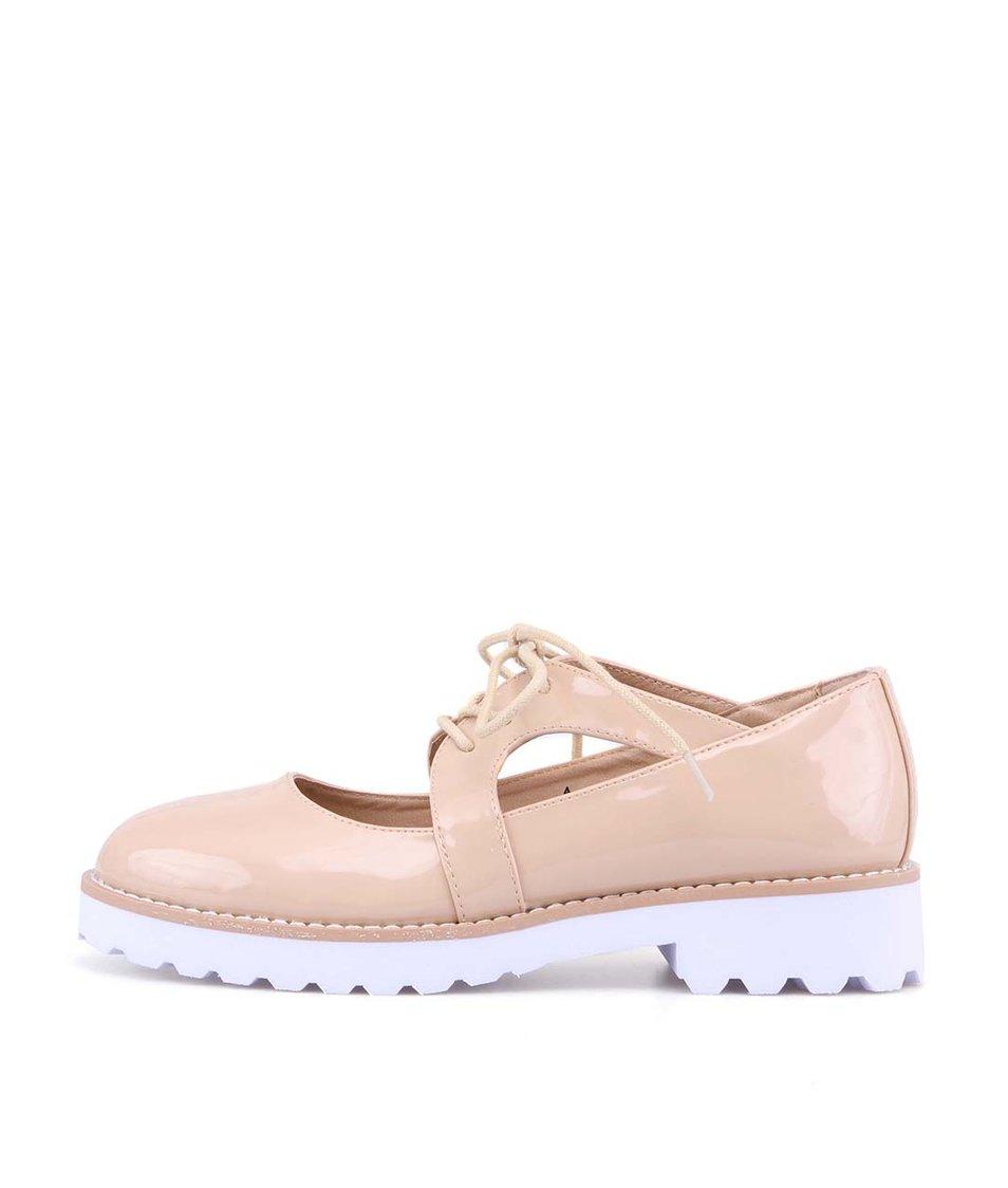 Béžové lakované boty na bílé podrážce London Rebel Willow