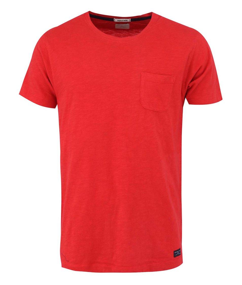 Červené triko s náprsní kapsou Selected Update