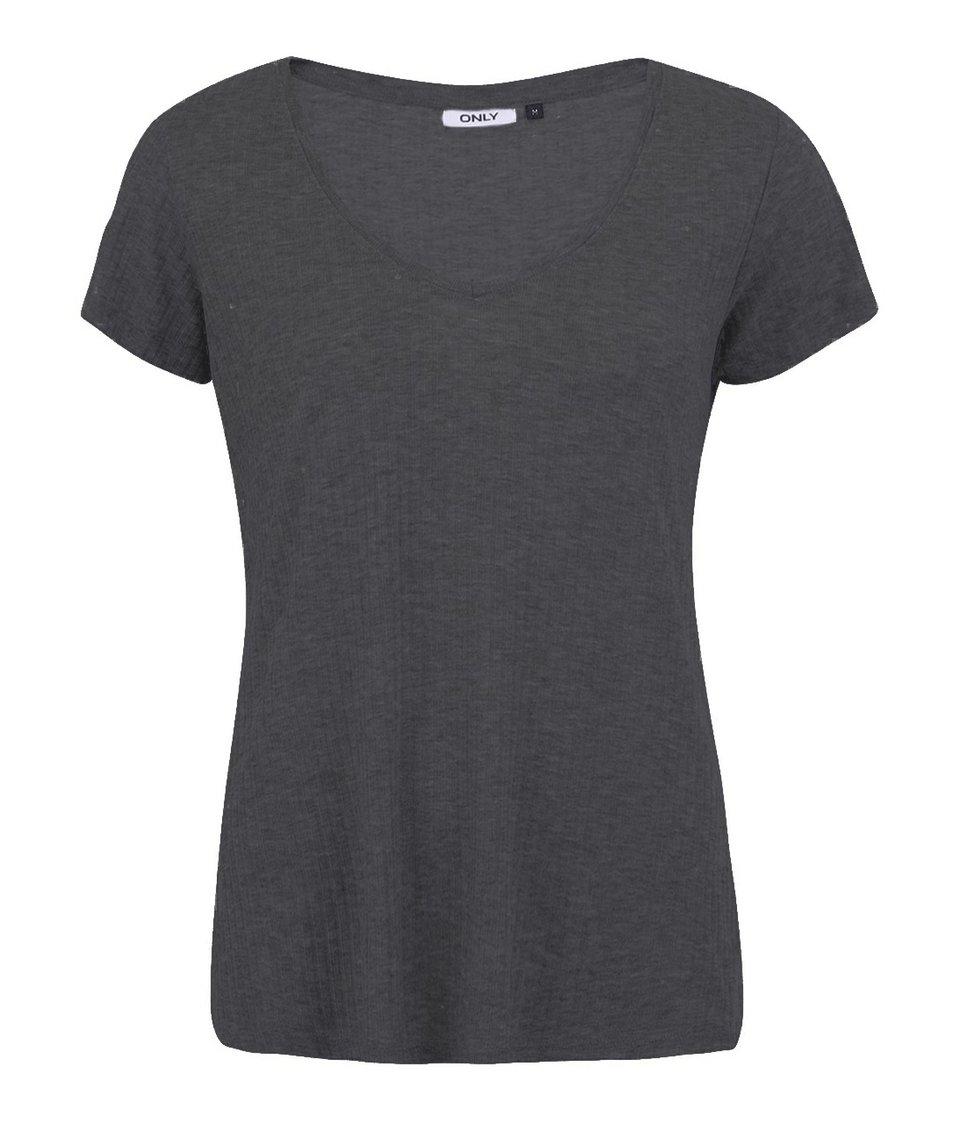 Tmavě šedé volnější tričko ONLY Web