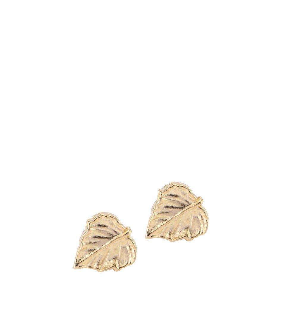 Náušnice ve tvaru listu ve zlaté barvě Lady Muck