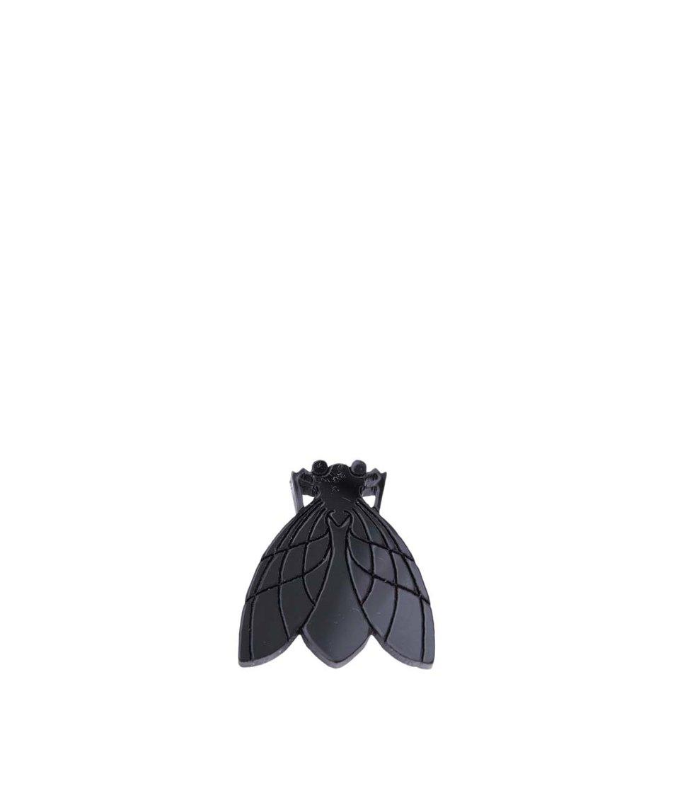 Černá brož s broušenou mouchou Lady Muck
