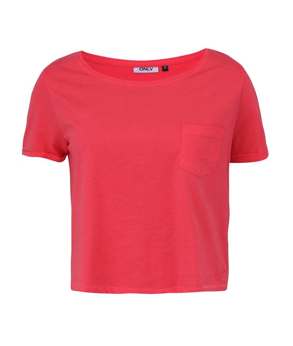 Růžové kratší tričko s kapsou ONLY Ella