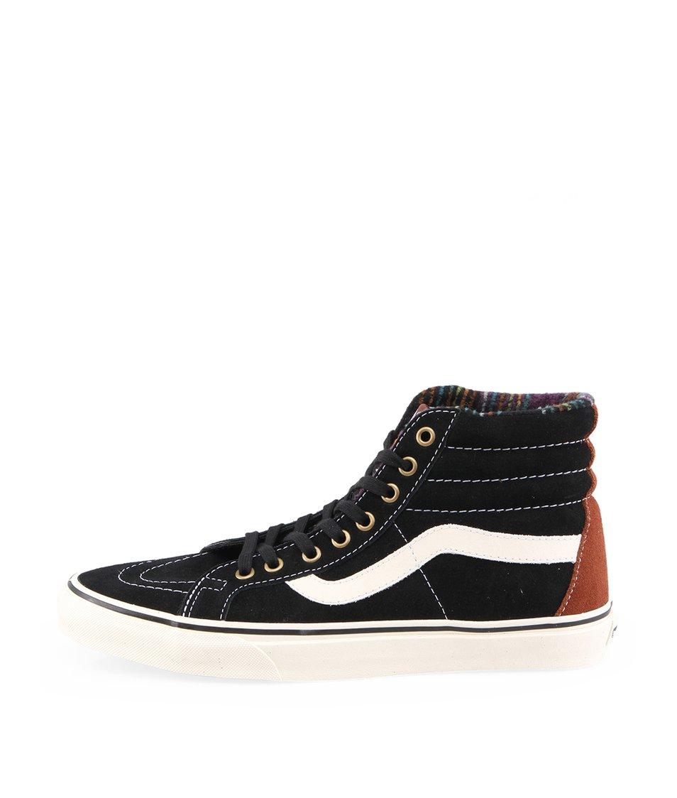 Černé pánské kožené kotníkové tenisky Vans Classic SK8-Hi