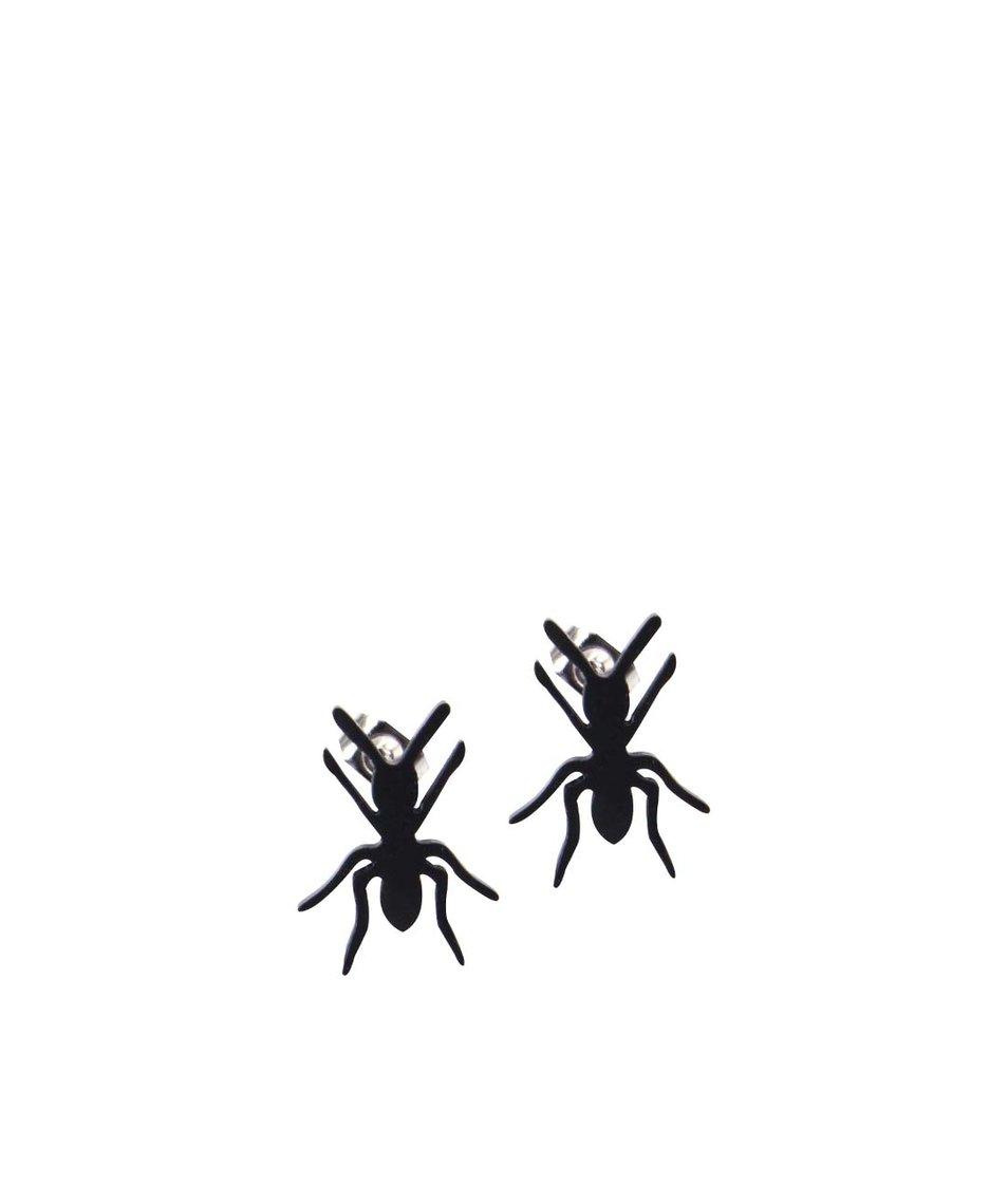 Černé náušnice ve tvaru mravence s nerezovou ocelí Lady Muck