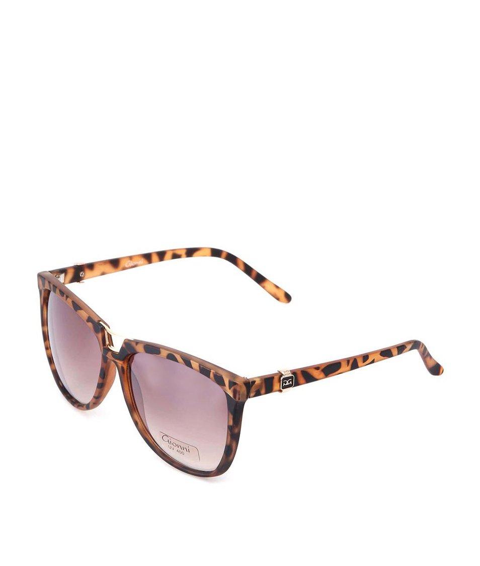 Hnědé vzorované sluneční brýle Gionni Cats Eye