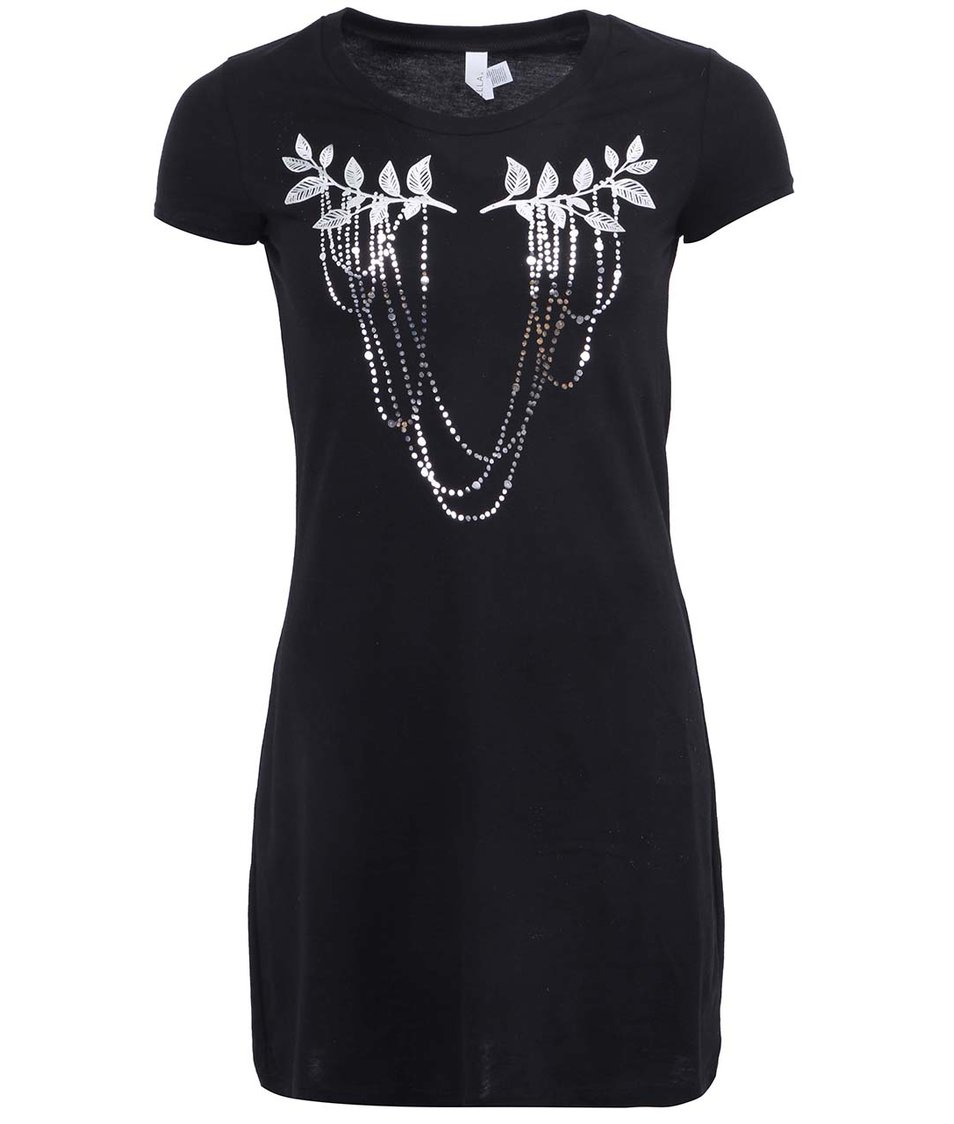 Černé dámské šaty se stříbrným potiskem ZOOT Originál