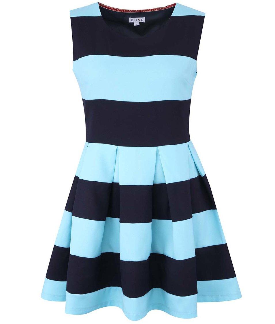 Modré pruhované šaty Kling Levanto