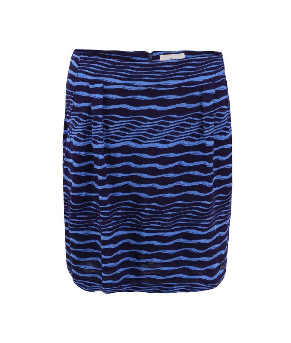 Modrá úpletová sukně s plastickým vzorem Skunkfunk Kyla