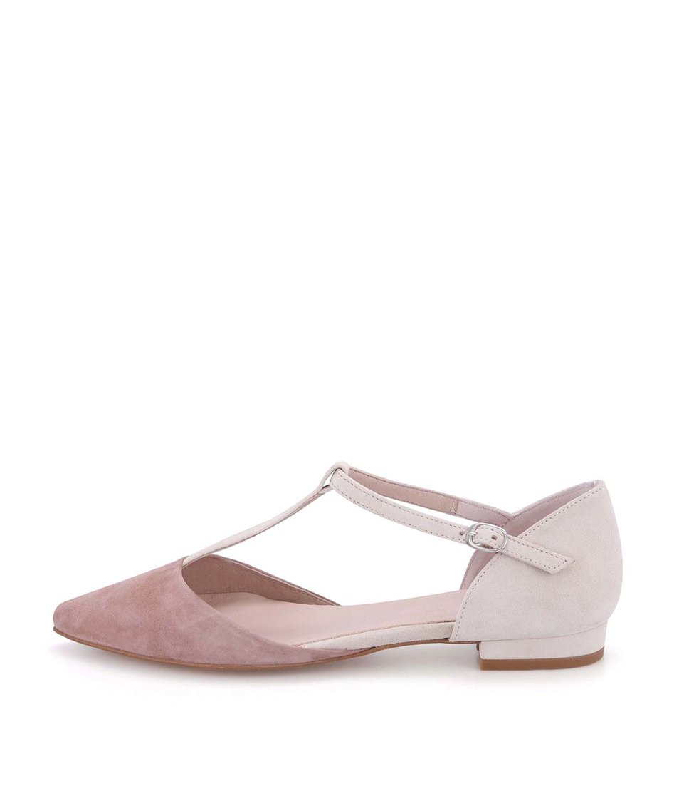 Krémové kožené sandálky s růžovou špičkou OJJU