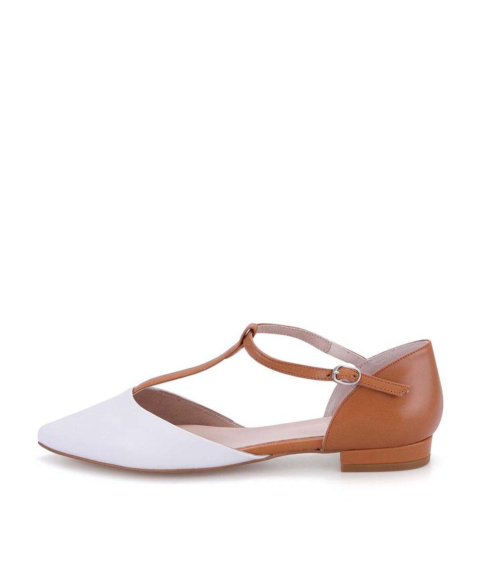 Hnědé kožené sandálky s bílou špičkou OJJU