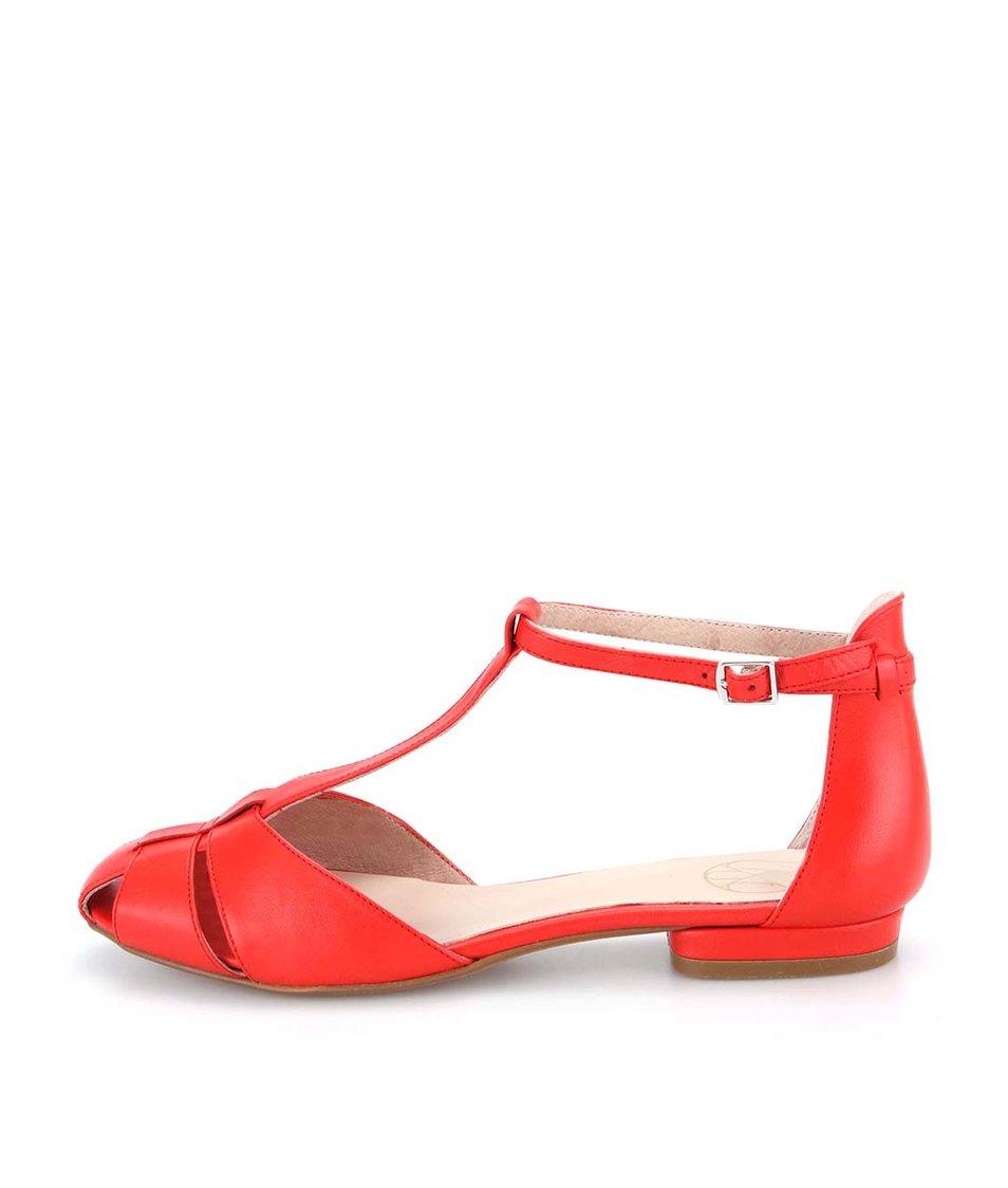 Červené kožené páskové sandálky OJJU