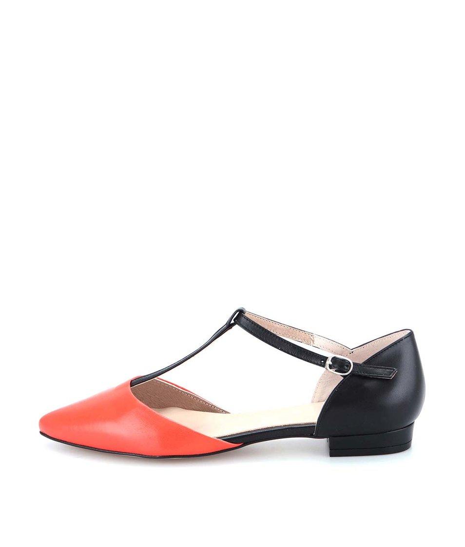 Černé kožené sandálky s červenou špičkou OJJU