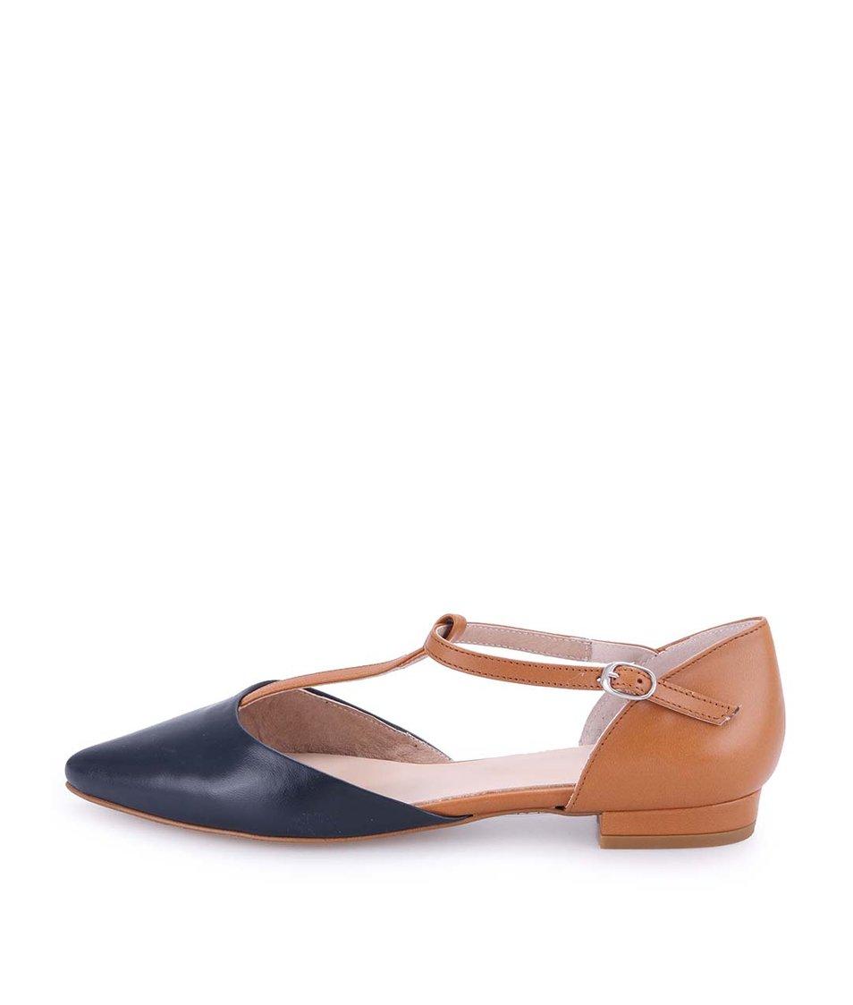 Hnědé kožené sandálky s tmavě modrou špičkou OJJU