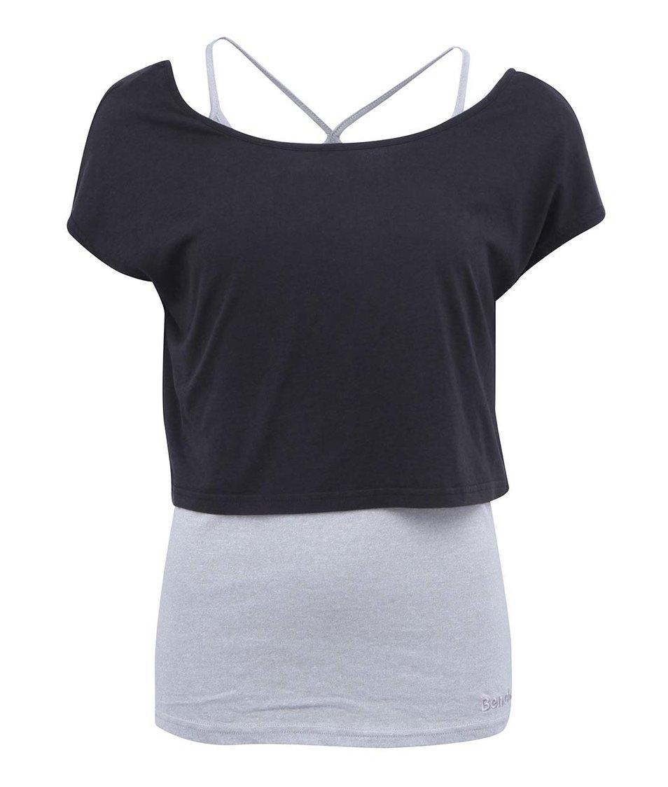 Černo-šedé dámské tričko 2v1 Bench Annalitic