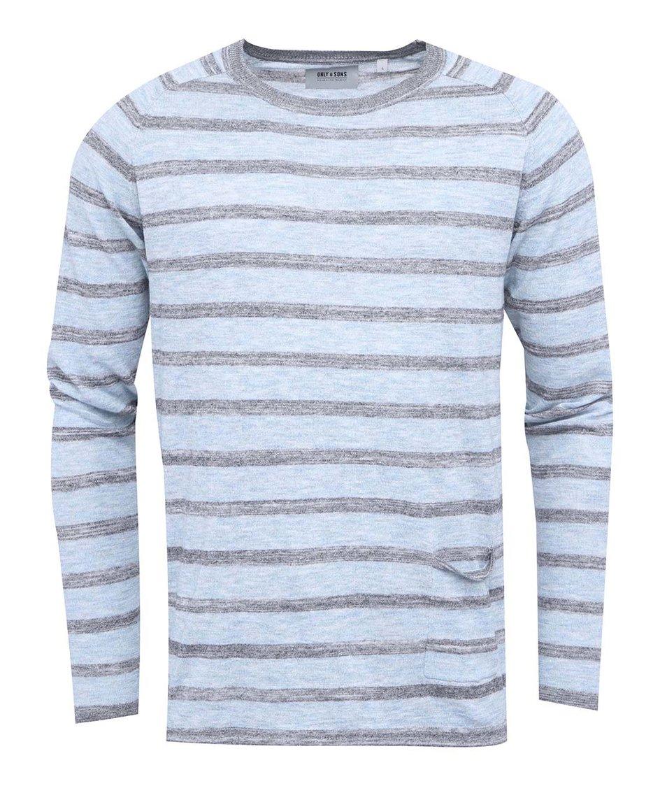 Šedo-modrý pruhovaný svetr ONLY & SONS Lilo