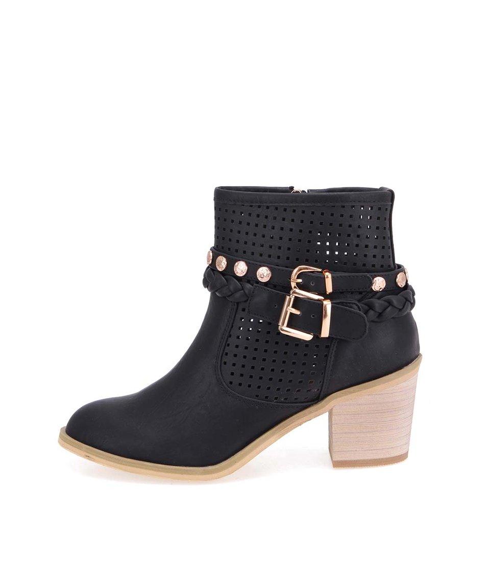Černé kotníkové boty na podpatku Xti