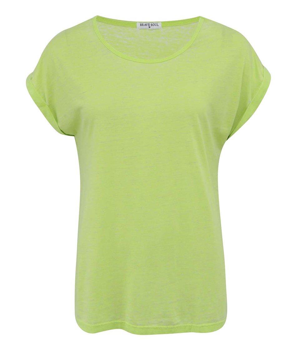 Limetkové žíhané triko Brave Soul Leahr