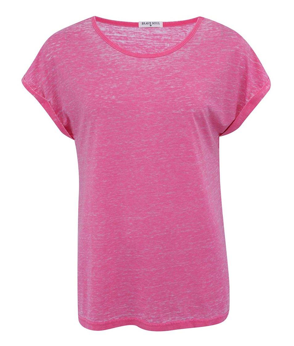 Růžové žíhané triko Brave Soul Leahr
