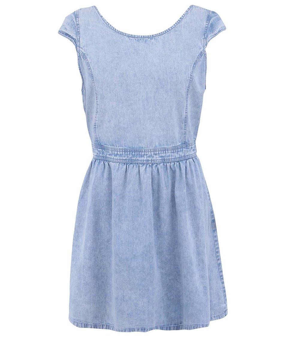 Modré džínové šaty s vykrojenými zády Brave Soul Snowy