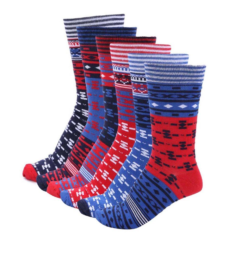 Sada šesti barevných pánských ponožek se vzorem Oddsocks North Sole