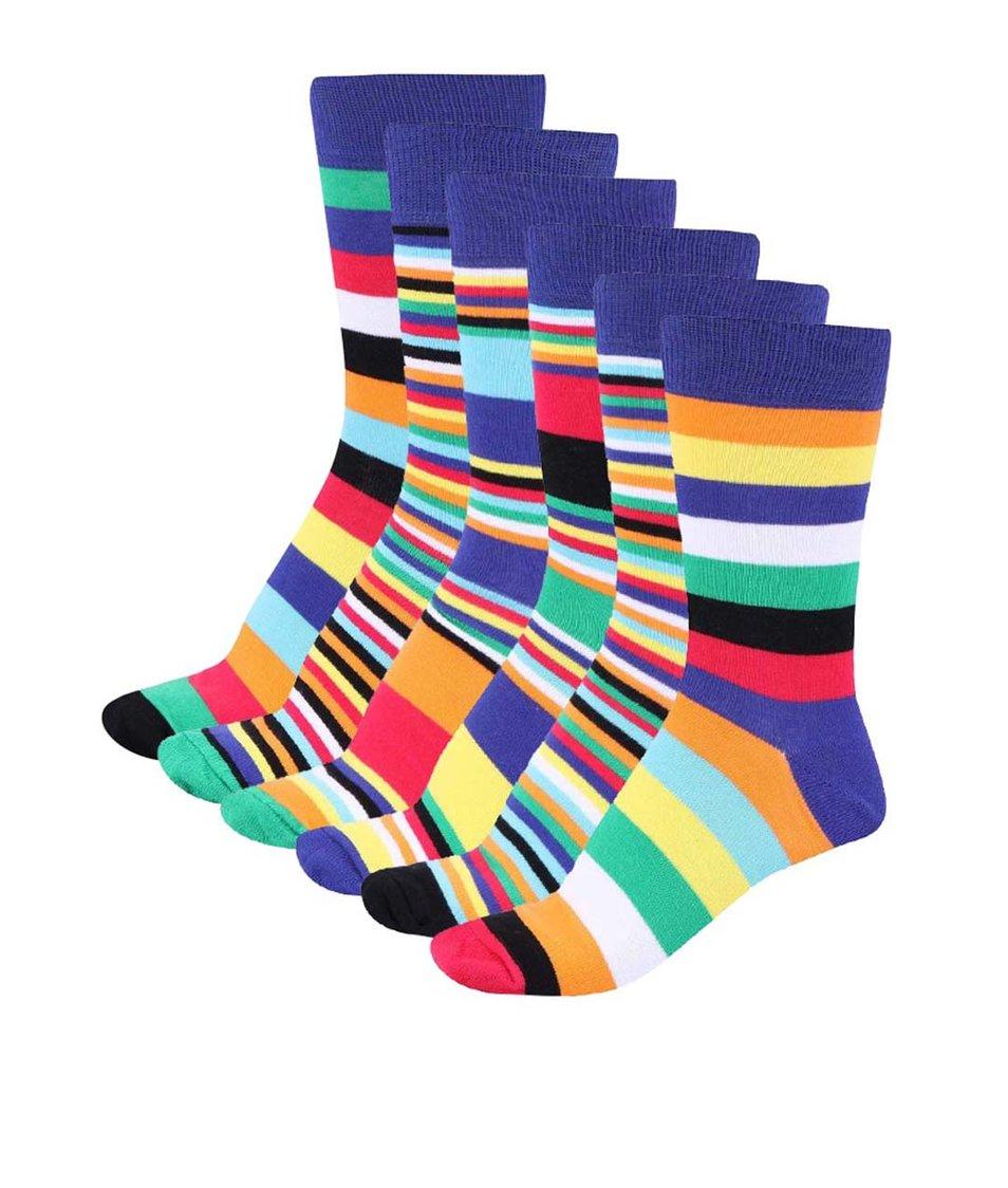 Sada šesti barevných pánských ponožek s pruhy Oddsocks