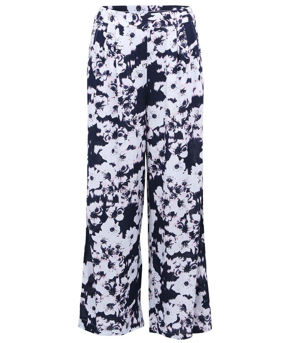 Tmavě modré volné kalhoty s bílými květy ONLY Choice