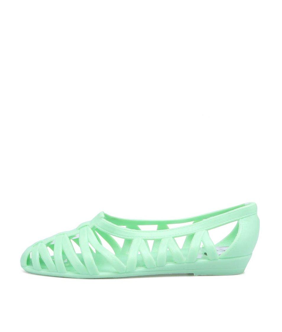 Zelené plastové baleríny JuJu Vicky