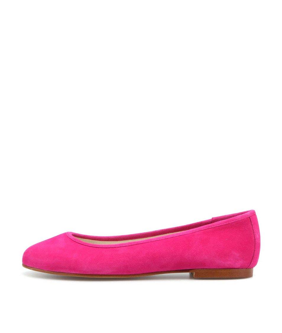 Růžové kožené balerínky OJJU