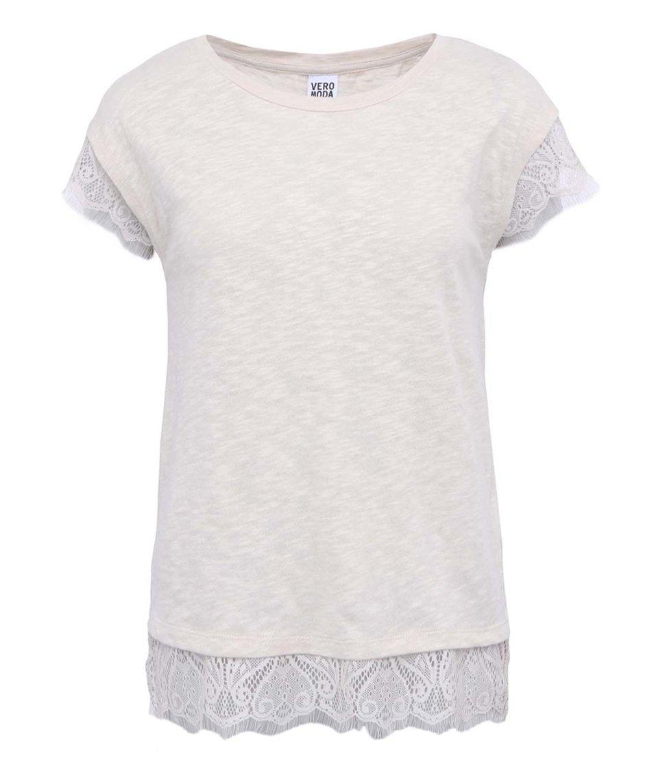 Béžové tričko zdobené krajkou Vero Moda Sonny
