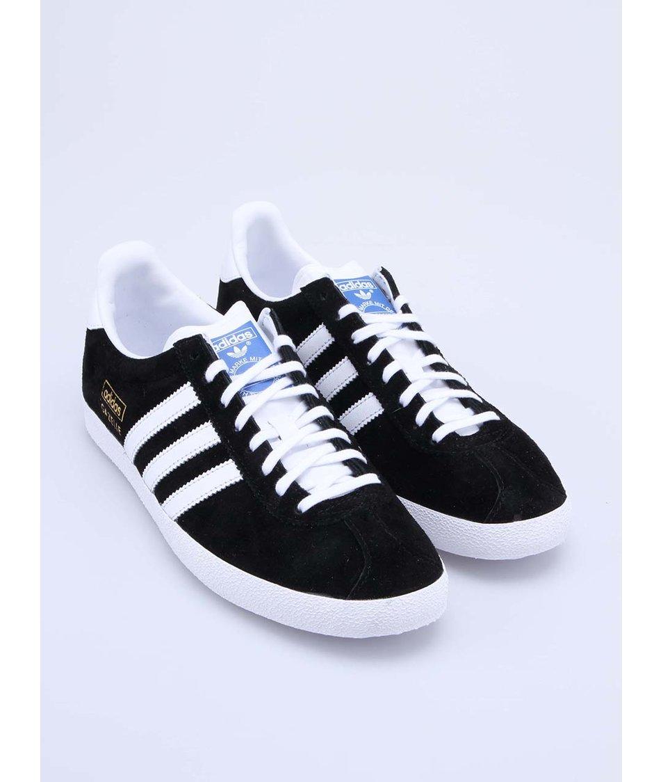 09b3602741 Bílo-černé pánské semišové tenisky adidas Originals Gazelle - SLEVA ...