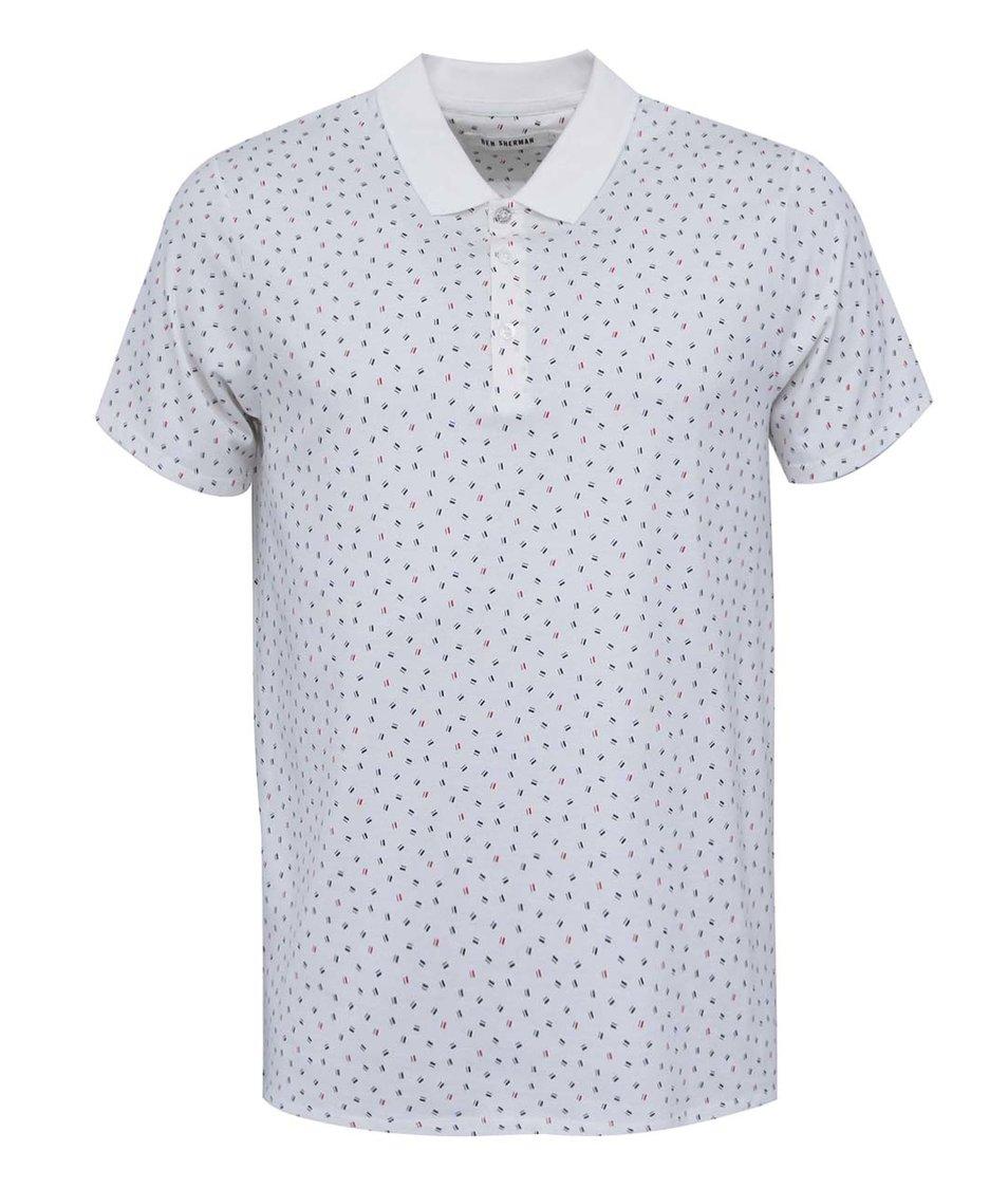 Krémové polo triko se vzory Ben Sherman