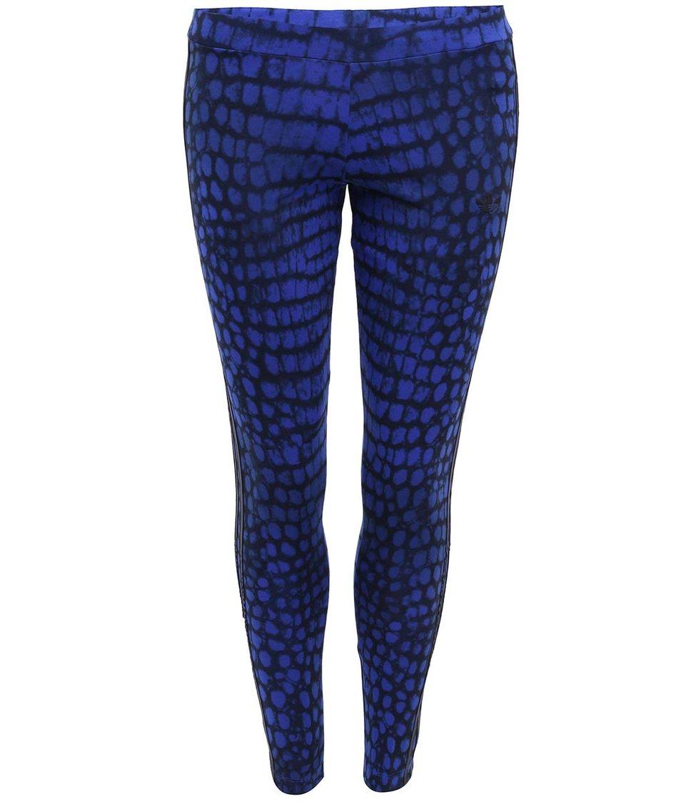 Černo-modré vzorované dámské legíny adidas Originals