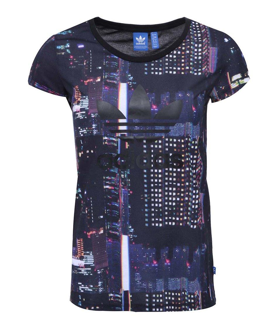 Černé dámské tričko s barevným potiskem adidas Originals