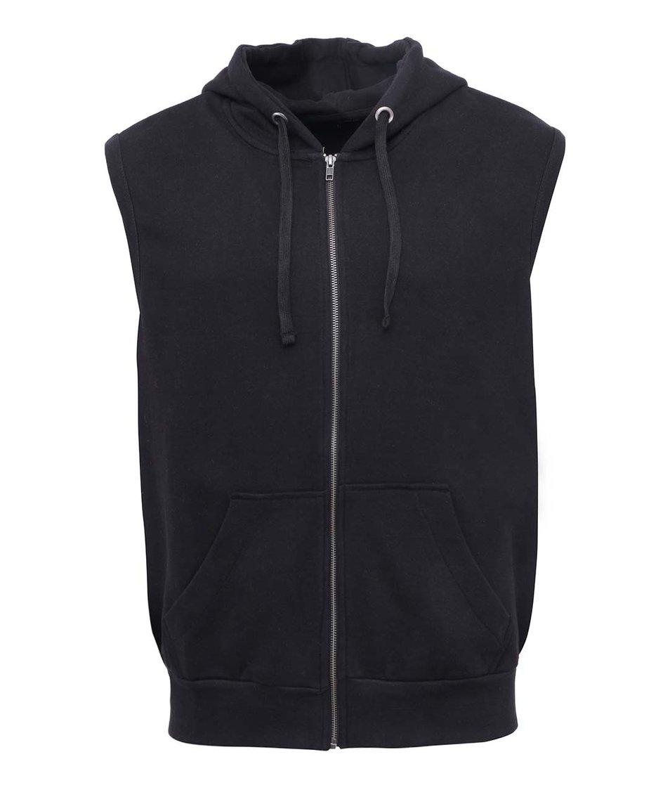 Černá vesta s kapucí Shine Original