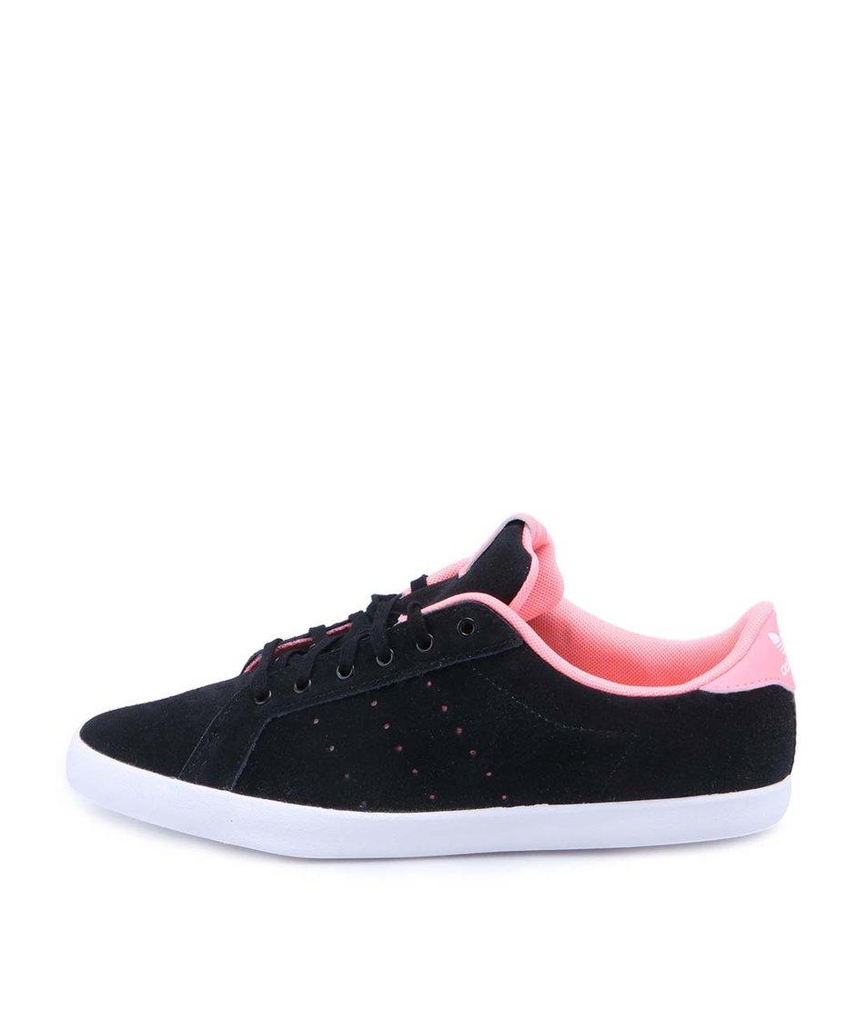 Růžovo-černé dámské kožené tenisky adidas Originals Miss Stan