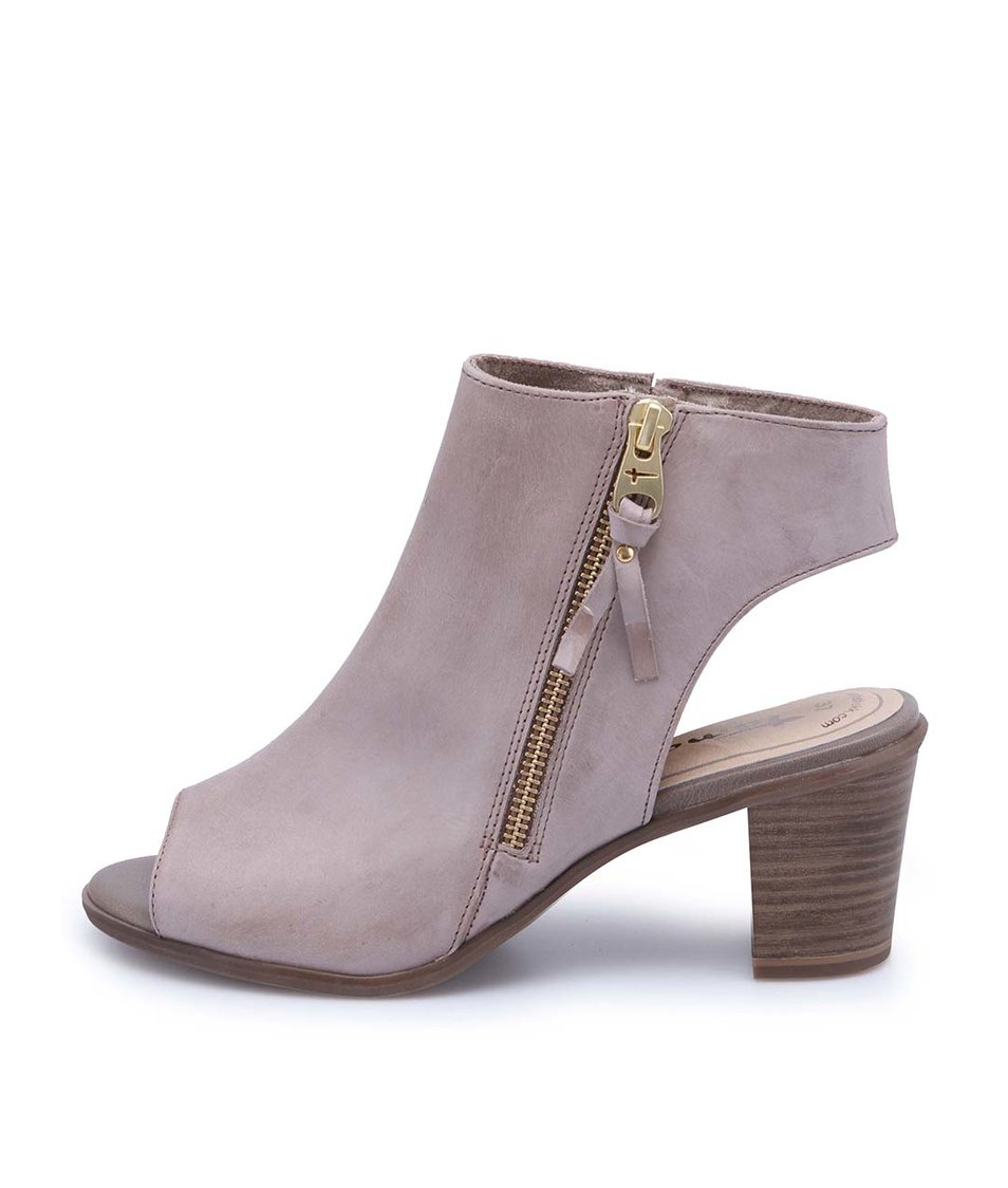 Hnědošedé kožené boty na podpatku s otevřenou špičkou Tamaris