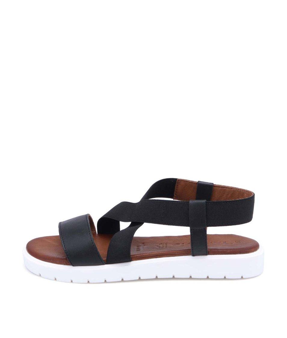 Černé kožené sandálky s bílou podrážkou Tamaris