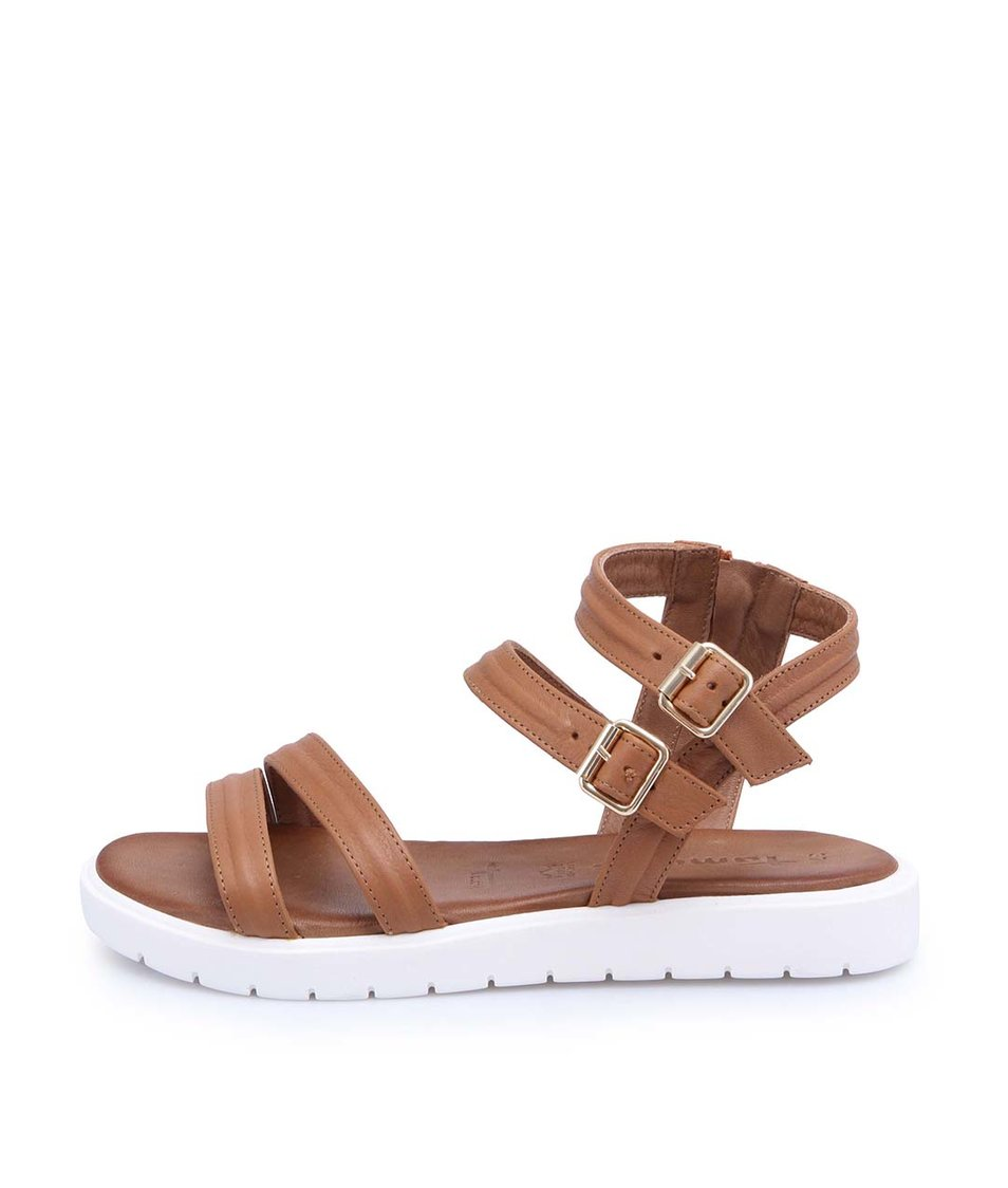 Hnědé kožené sandály s bílou podrážkou Tamaris