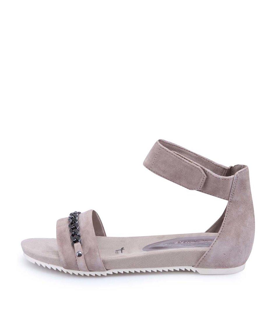 Hnědošedé kožené kotníkové sandálky Tamaris